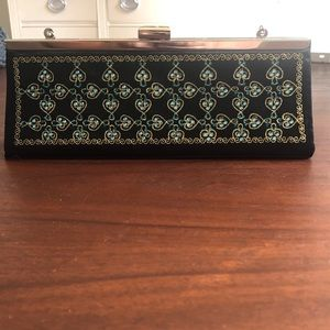 Handbags - Black Satin w/Turquoise & gold embroidery clutch
